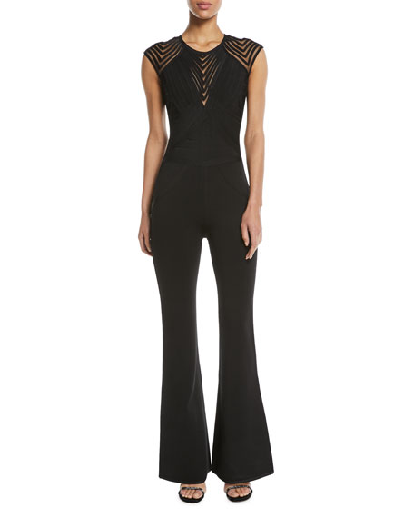 Herve Leger Illusion Geometric Cap Sleeves Jumpsuit
