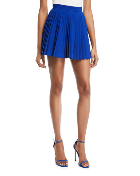 Pleated Crepe Mini Skirt