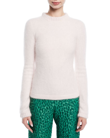 Brandon Maxwell Long-Sleeve Mohair Ribbed-Trim Fluff Sweater and