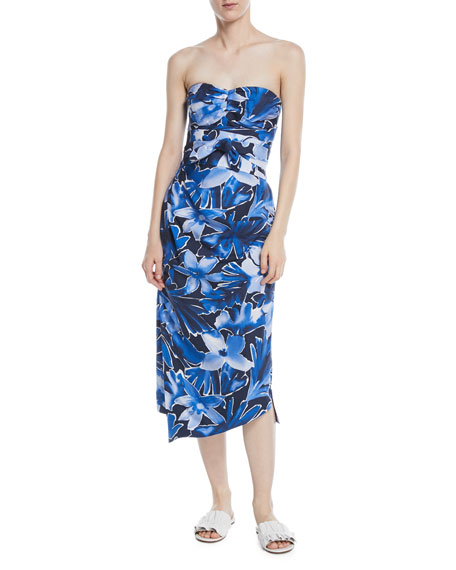 Image 1 of 2: Michael Kors Collection Strapless Tie-Waist Floral-Print Draped Silk Dress