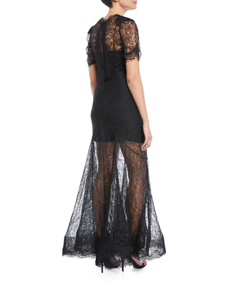 Dorrie Deep-V Chantilly Lace Evening Gown
