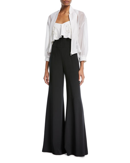 CUSHNIE Jade High-Waist Wide-Leg Pants