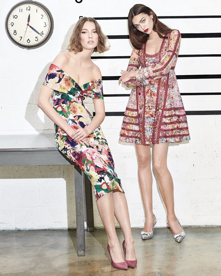 Alba Off-the-Shoulder Floral-Print Fitted Cocktail Dress