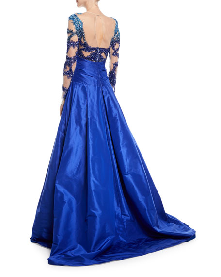 Pleated Taffeta Evening Ball Gown w/ Crystal Embroidered Bodice