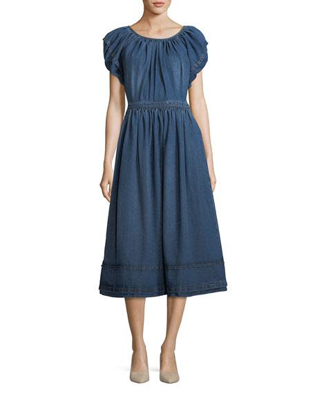 Crewneck Short-Sleeve A-Line Midi Dress