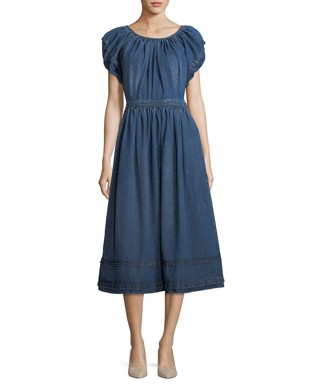 86173b9474a4 Co Crewneck Short-Sleeve A-Line Midi Dress