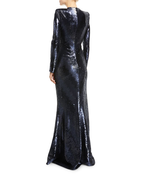 Plunging Long-Sleeve Fitted Sequined Evening Gown