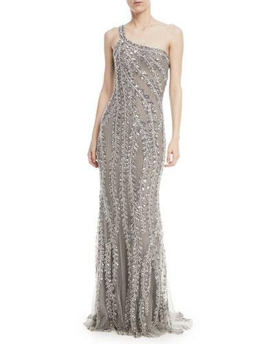 One-Shoulder Embellished Sequin Evening Gown