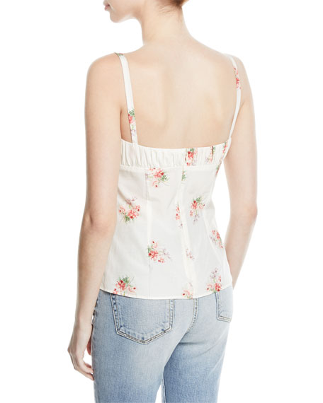 Tessie Orchid-Print Bustier Silk-Cotton Tank Top