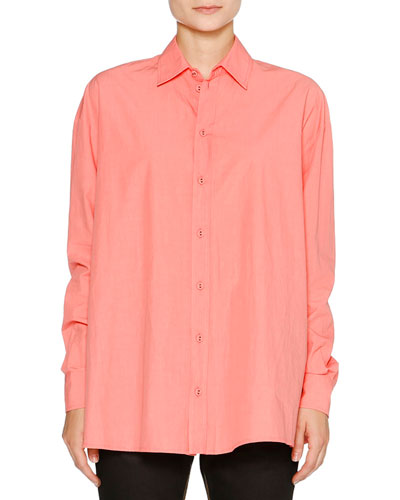 Balloon-Back Cotton Blouse, Melon