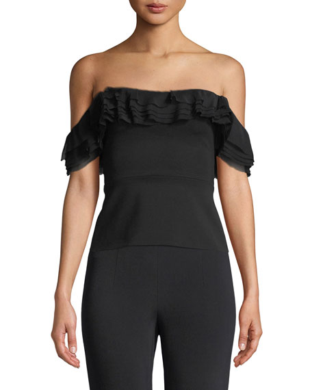 Off-the-Shoulder Top with Layered Chiffon Ruffle