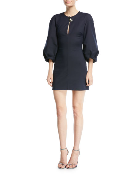 CUSHNIE Rosario 3/4-Sleeve Fitted Mini Dress with Abstract