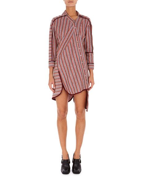 Asymmetric Twisted-Stripe Shirtdress