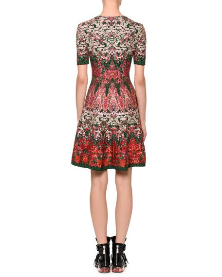 Short-Sleeve Floral Jacquard Dress