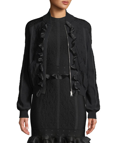 Alexander Mcqueen Jackets Cage Jacquard Zip-front Bomber Jacket with Ruffle Trim