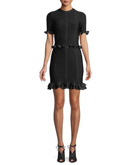 Short-Sleeve Crewneck Cage Jacquard Mini Dress with Ruffled Trim