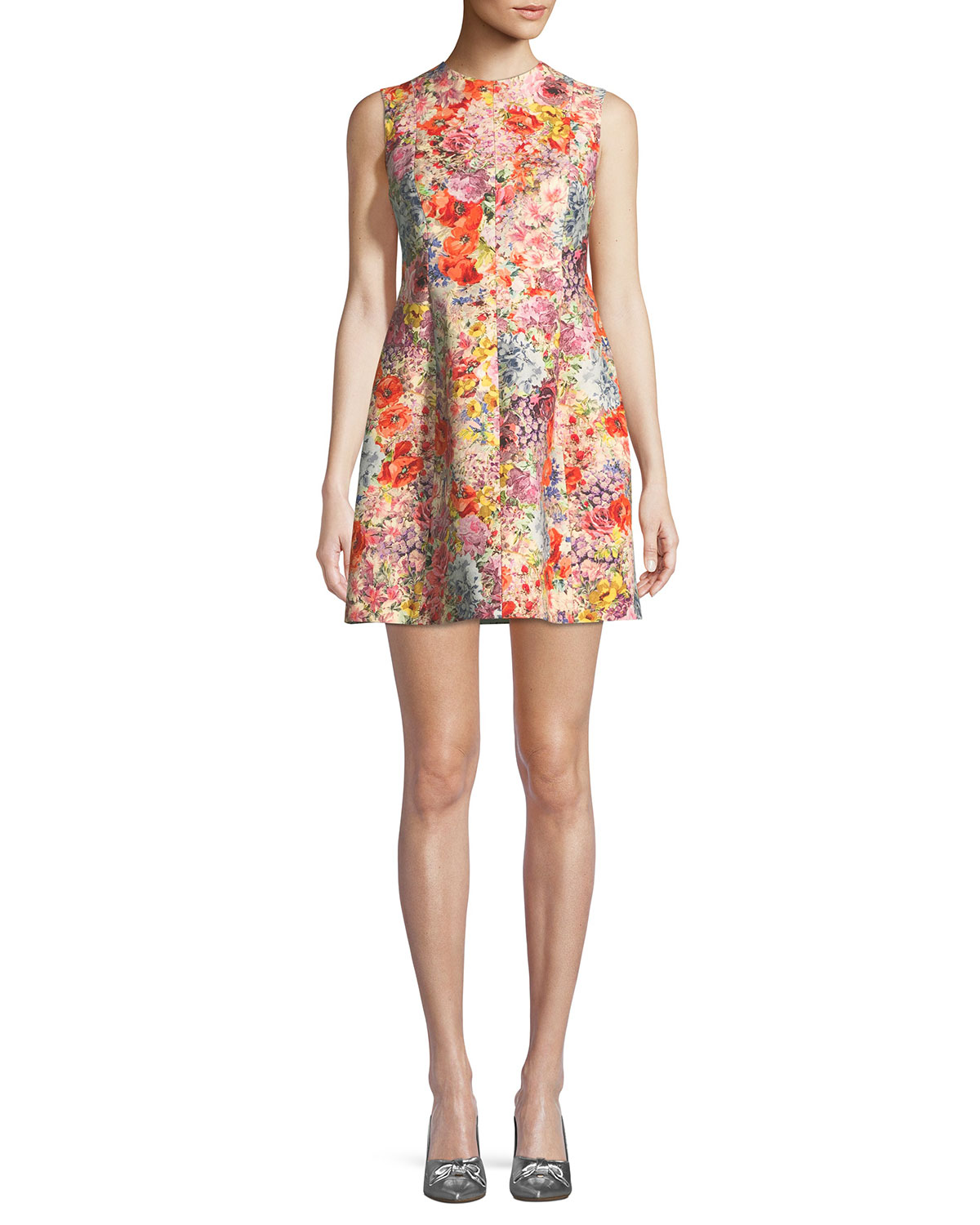 2a97a5a8 Valentino Sleeveless Crepe Fit-and-Flare Floral-Print Dress | Neiman ...