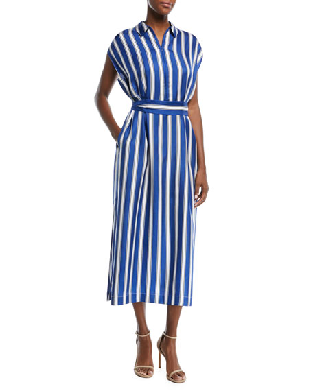 Escada Cap-Sleeve Silk Satin Striped Midi Dress