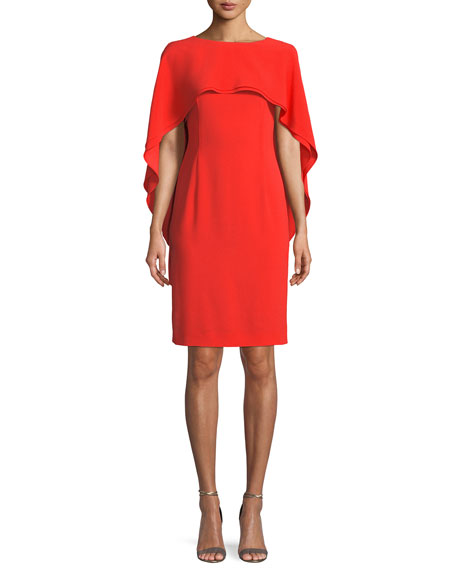 Jewel-Neck Capelet Crepe Sheath Dress