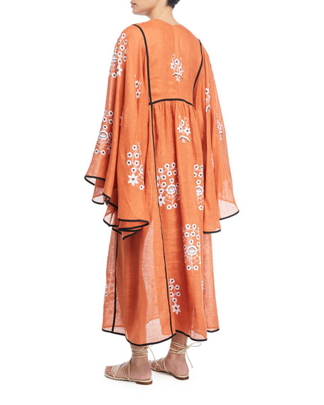 Vita Kin V-Neck Bell-Sleeve Pigeon-Floral Embroidered Linen Maxi Dress