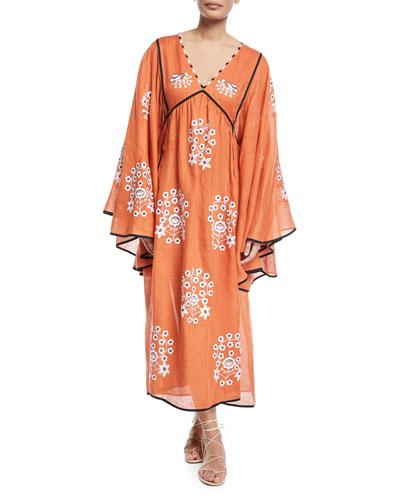 V-Neck Bell-Sleeve Pigeon-Floral Embroidered Linen Maxi Dress