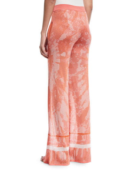 Talitha Collection Tie-Dye Textured Semisheer Wide-Leg Pants
