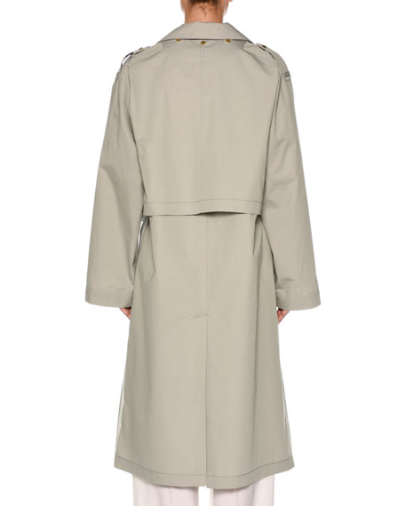 Snap-Front Belted Cotton-Silk Trench Coat with Cape Detail