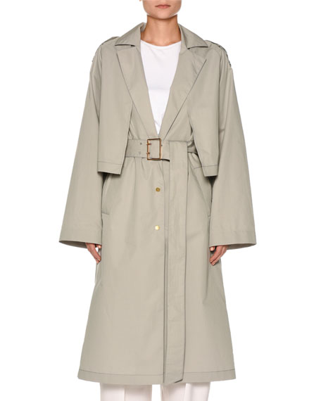 Agnona Snap-Front Belted Cotton-Silk Trench Coat with Cape