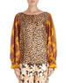 Canote Silk Leopard Blouse w/ Foulard Balloon Sleeves