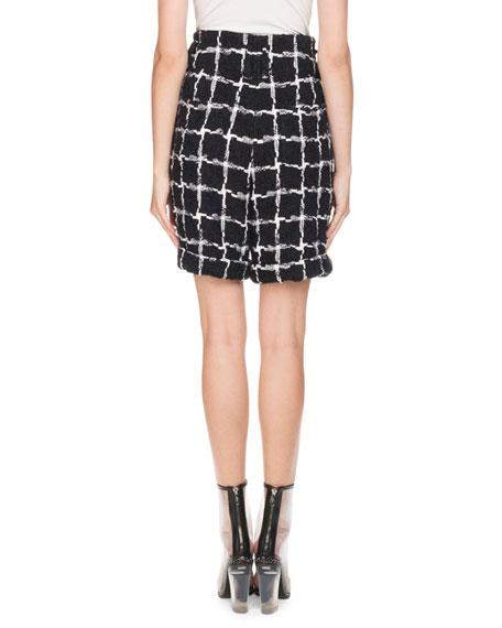 High-Waist Windowpane Tweed Shorts
