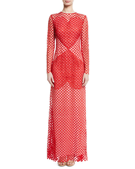 Sansusie Heart-Embroidered Long-Sleeve Evening Gown with Side Slits