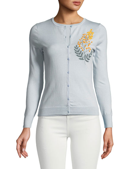 Cashmere Silk Button-Front Embroidered Cardigan