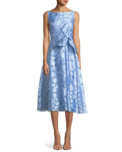 Sleeveless Boat-Neck Bow-Front Fit-and-Flare Jacquard Dress