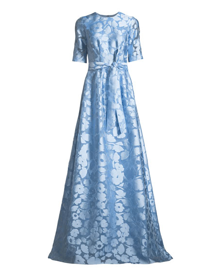 Holly Elbow-Sleeve A-Line Floral-Jacquard Evening Gown