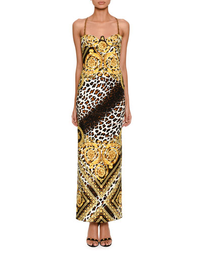 Sleeveless Baroque Leopard-Print Column Evening Gown with Chain Straps