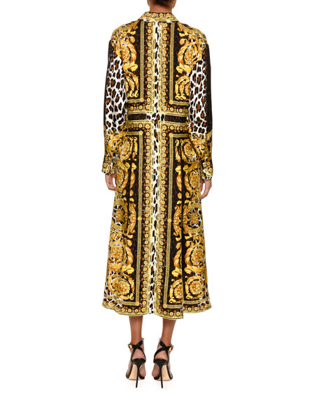 Long-Sleeve Silk Twill Baroque-Print Midi Dress