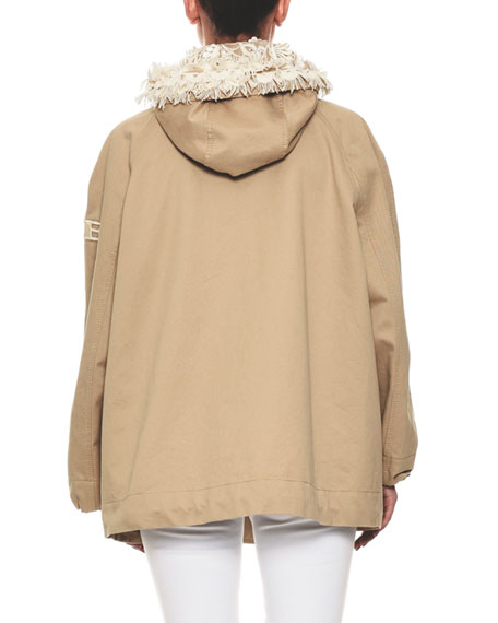 Zip-Front Cotton Taffeta Hooded Parka Jacket Floral-Embroidery Trim