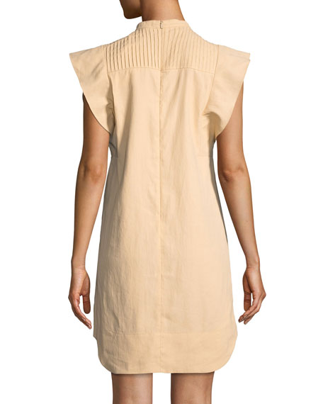 Short Flutter-Sleeve Coated Linen Dress with Cutout Details