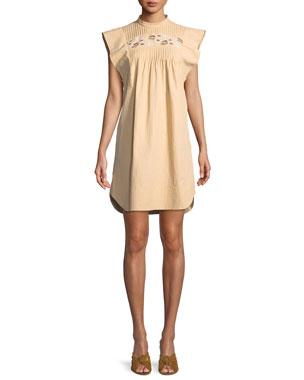 Chloe Short Flutter-Sleeve Coated Linen Dress with Cutout Details 68b157c701f0