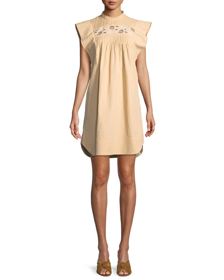 Chloe Short Flutter-Sleeve Coated Linen Dress with Cutout