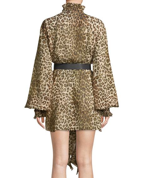 Long-Sleeve Leopard-Print Ruffled Crepon Tunic