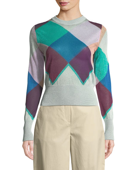 Emporio Armani Multicolor Long-Sleeve Harlequin Knit Jacket