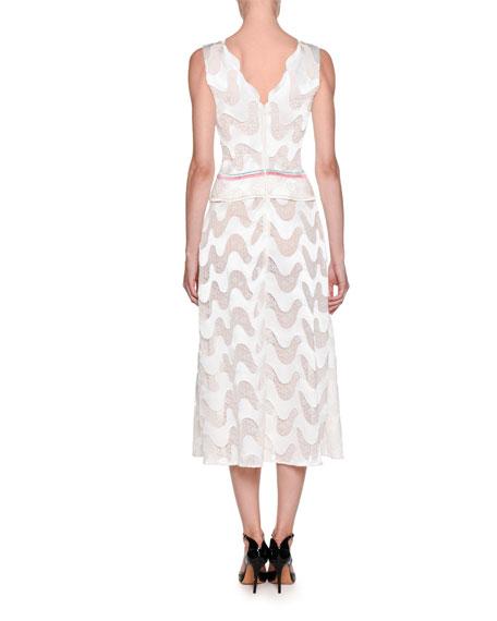 Sleeveless Deep-V Semisheer Wavy-Chevron Silk Dress