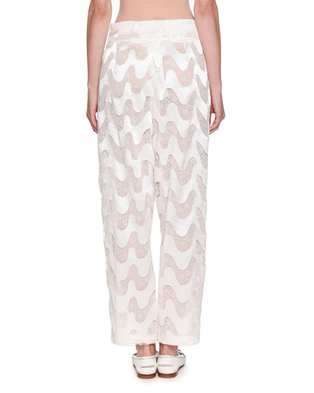 Wavy-Chevron Lace Wide-Leg Silk Pants