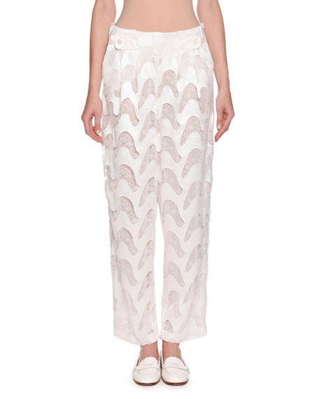 Emporio Armani Wavy-Chevron Lace Wide-Leg Silk Pants