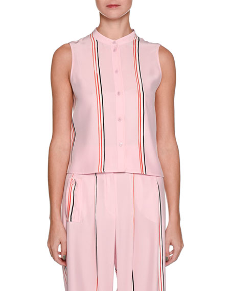 Sleeveless Button-Front Silk Blouse with Sport-Stripe Trim
