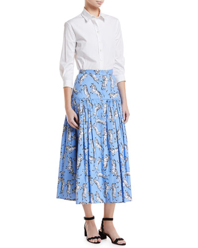 Zebra-Print Button-Front Cotton Poplin Peasant Skirt