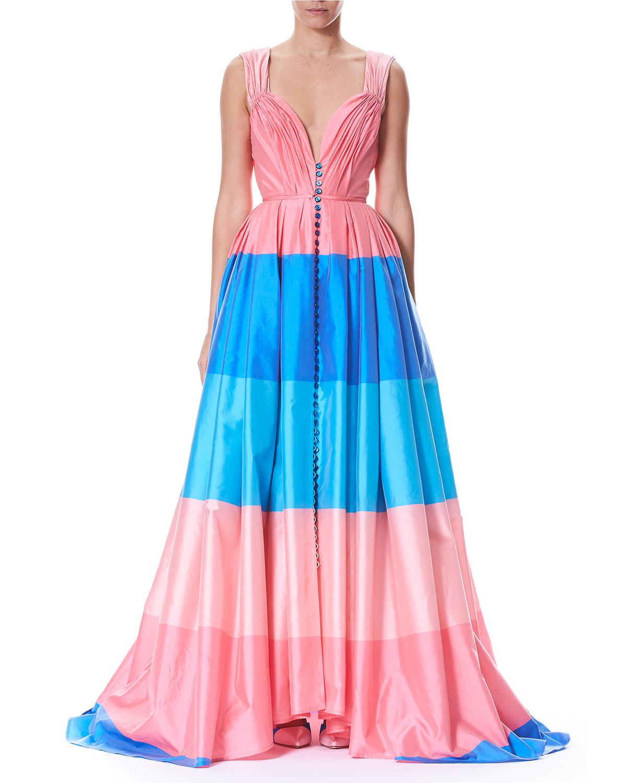 Carolina Herrera Wide-Stripe Sweetheart Cap-Sleeve Taffeta Evening ...