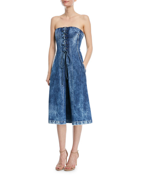 Ralph Lauren Collection Esme Lace-Up Strapless Denim Dress