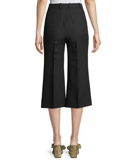 Cady Crepe Wool-Silk Gaucho Pants